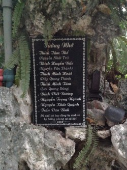 Commemorative stone with the names of the students assassinated during an attack